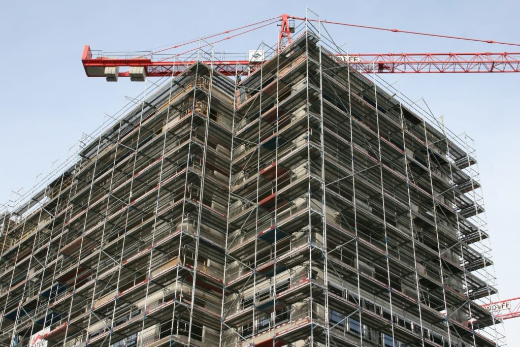 Scaffolding for large building