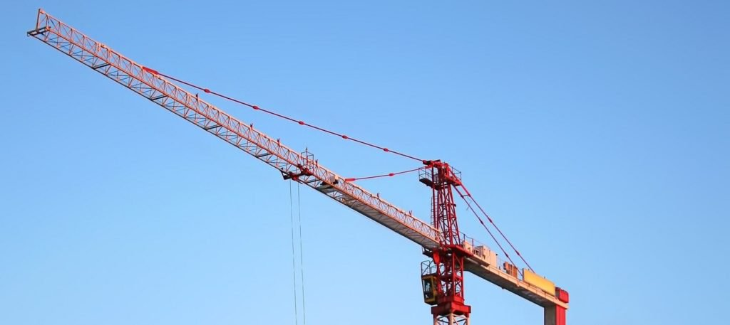 Crane erected with blue sky